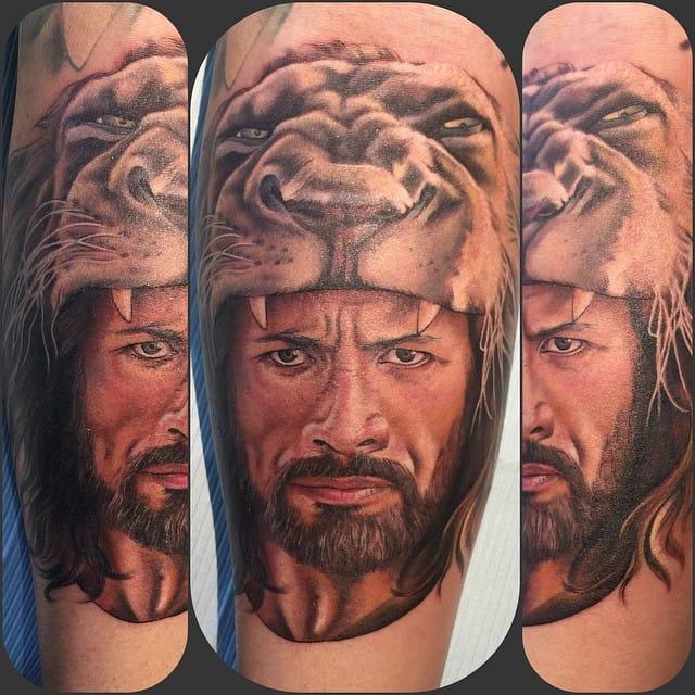 Epic Hercules Tattoo by Kyle Proia #TheRock #DwayneJohnson #wrestler #celebrity #portrait #KyleProia