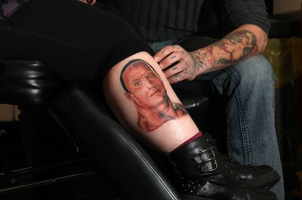 The Rock tattoo by Stephen Rootes #TheRock #DwayneJohnson #wrestler #celebrity #StephenRootes