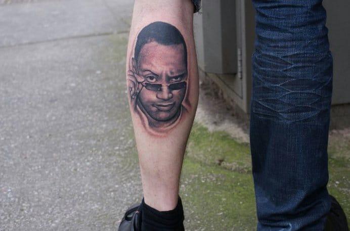 The Rock Tattoo by unknown artist #TheRock #DwayneJohnson #wrestler #celebrity #portrait