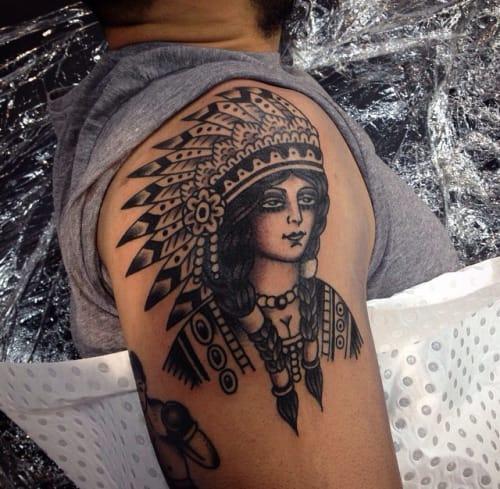 Native American Woman Tattoo by Alexander Tyrrell