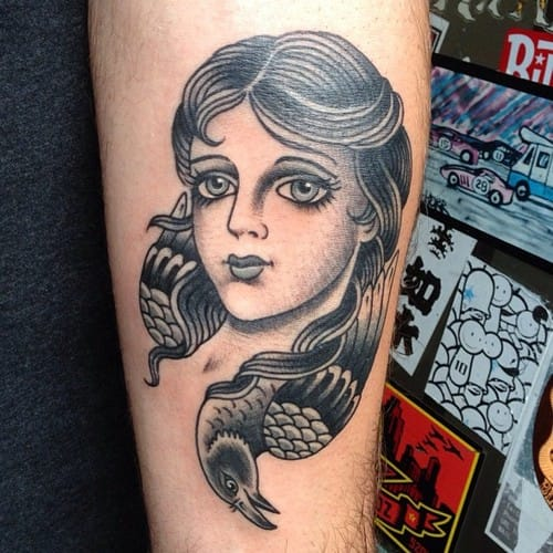 Blackwork Woman Tattoo by Lina Stigsson