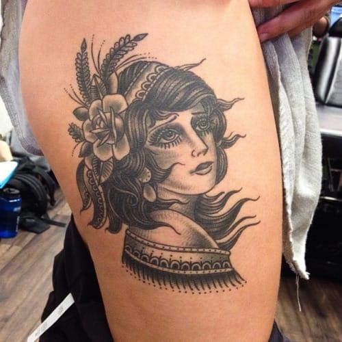 Traditional Blackwork Lady by Matthew Houston