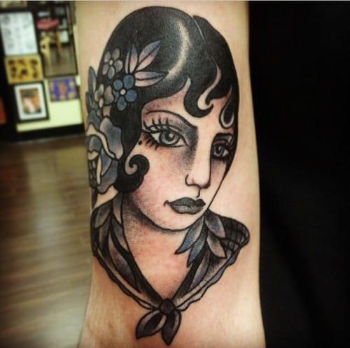 Blackwork Woman Tattoo by Nikki Lugo