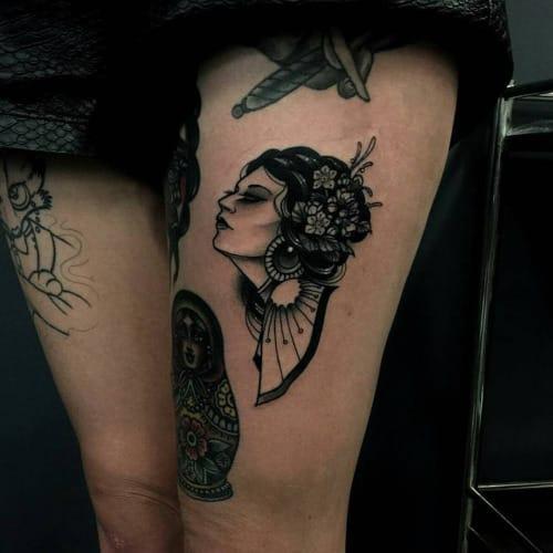 Blackwork Woman Tattoo by Pari Corbitt