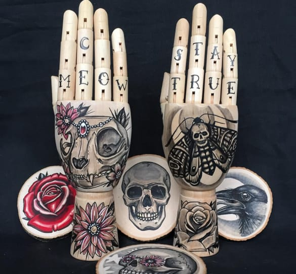 Beautiful Tattoo Designs On Wooden Body Parts