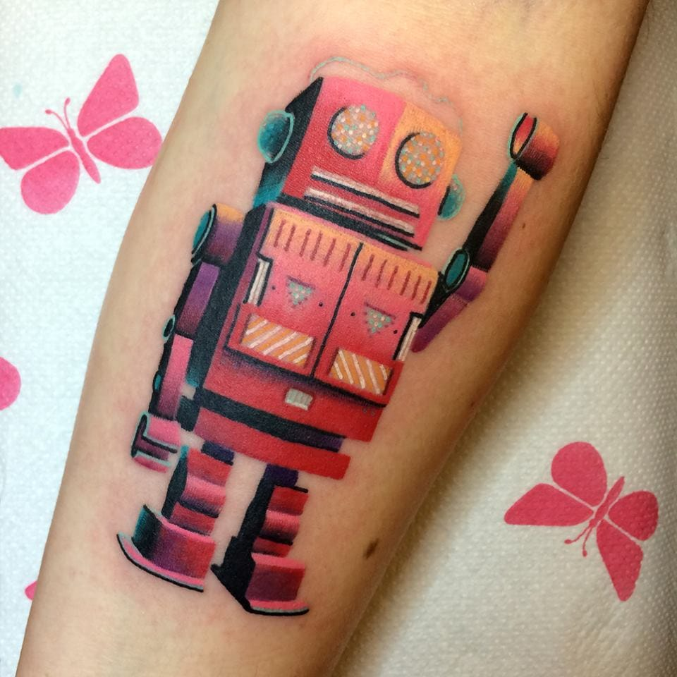 This pink robot tattoo by Giena Todryk has unbelievable detail!
