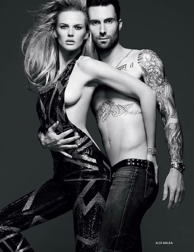 Adam and his supermodel wife Behati Prinsloo, photo by Alix Malka