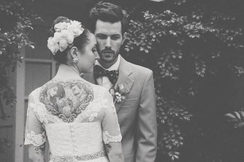 4. Tattoos look awesome with wedding wear