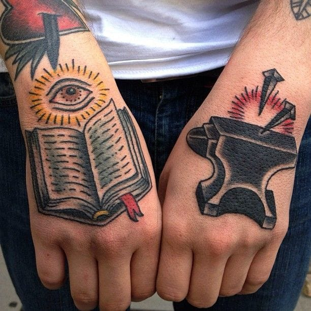 Old school anvil hand tattoo really looking solid