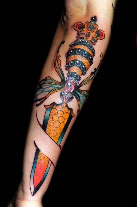 8 Solid New School Dagger Tattoos