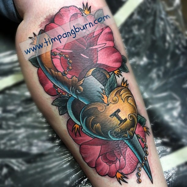 Dagger tattoo by Tim Pangburn