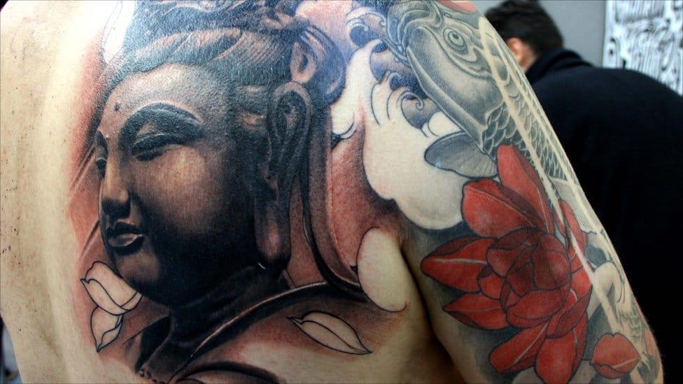 Chest Buddha with Koi and Lotus