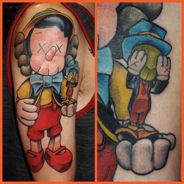 Funny Pinocchio tattoo