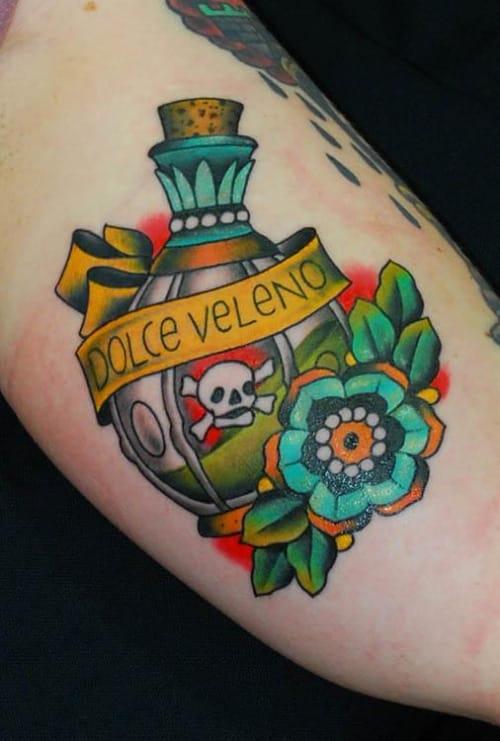 Poison Bottle Tattoo by Miss Arianna