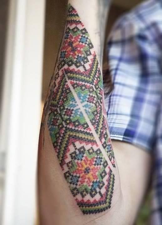 Awesome Cross-stitch Tattoo
