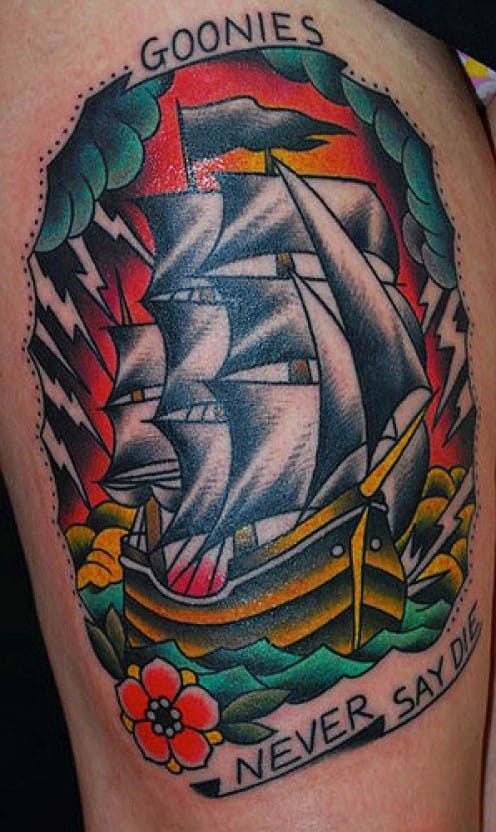 Goonies Ship Tattoo, artist unknown