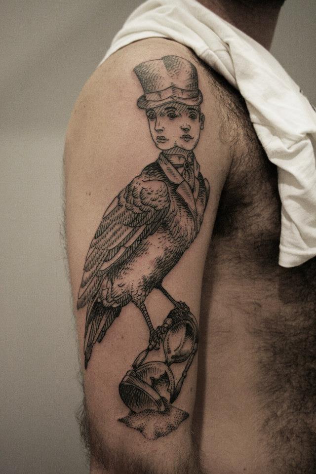 Pretty surrealistic tattoo by Ottorino d'Ambra.