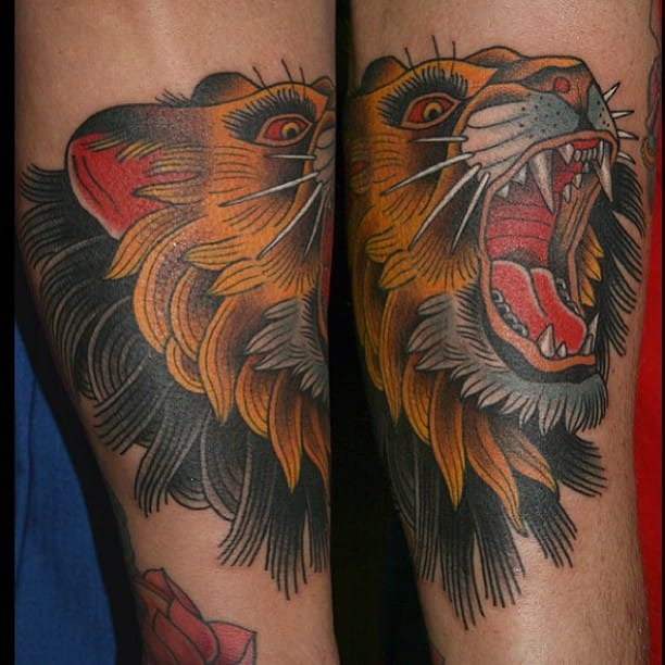 Neo-Traditional Lion Tattoo by Stefan Johnsson