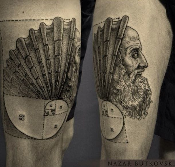 Scientific inspired tattoo by Nazar Butkovski.