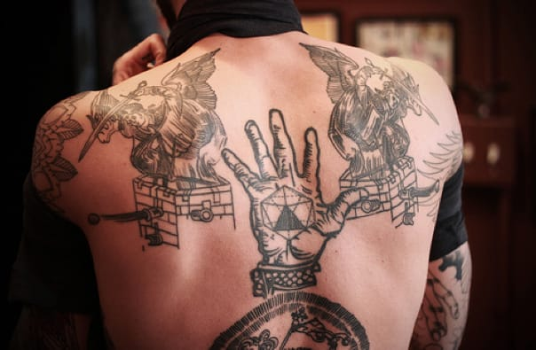 This is the back of tattoo artist Liam Sparkes, inked by Thomas Hooper.