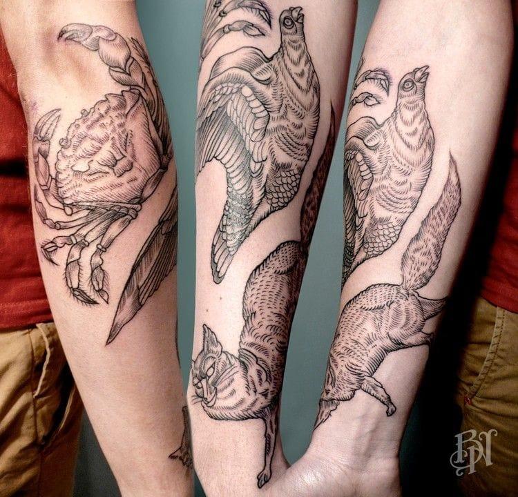 Animals tattoos by Bleu Noir.