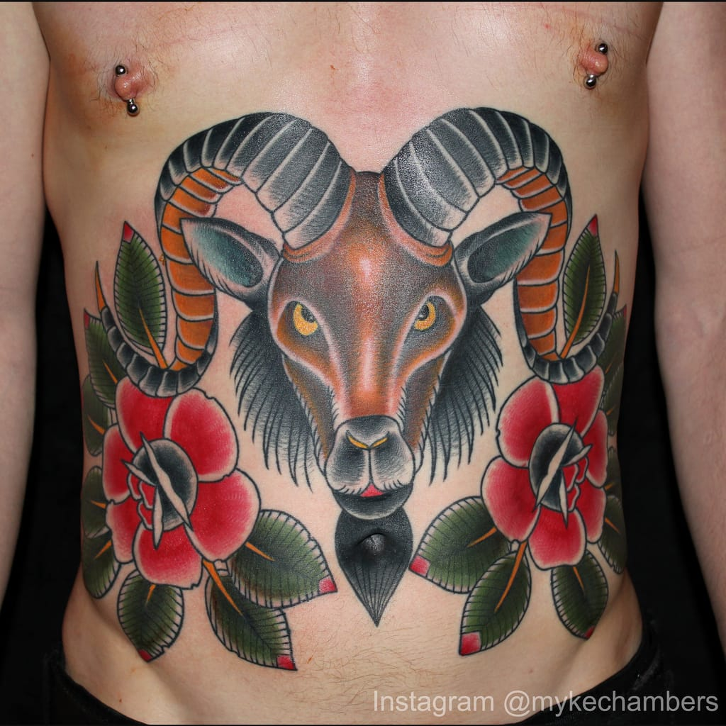 Traditional Ram Tattoo by Myke Chambers