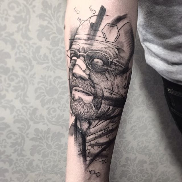 Breaking Bad tattoo by Fredao Oliveira #blackwork #blckwrk #linework #shading #abstract #sketchstyle #breakingnad #walterwhite #science #tvshow #tvseries #FredaoOliveira