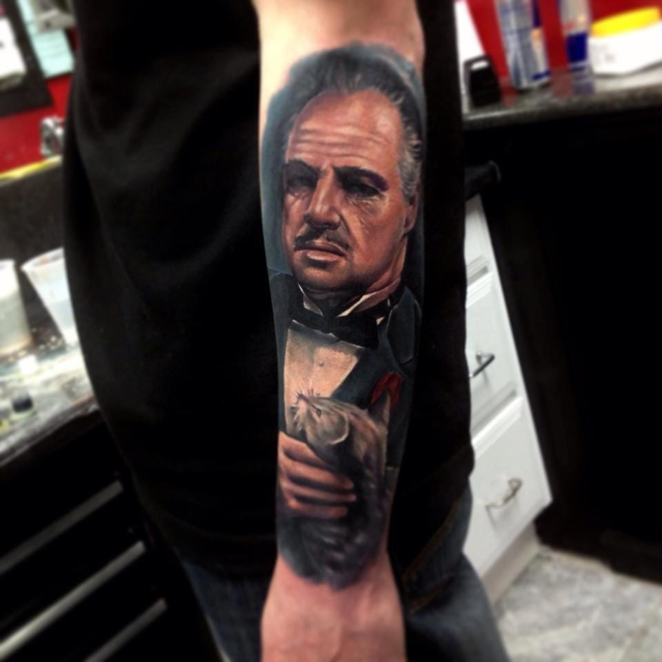Awesome Vito Corleone Tattoo by Kris Busching