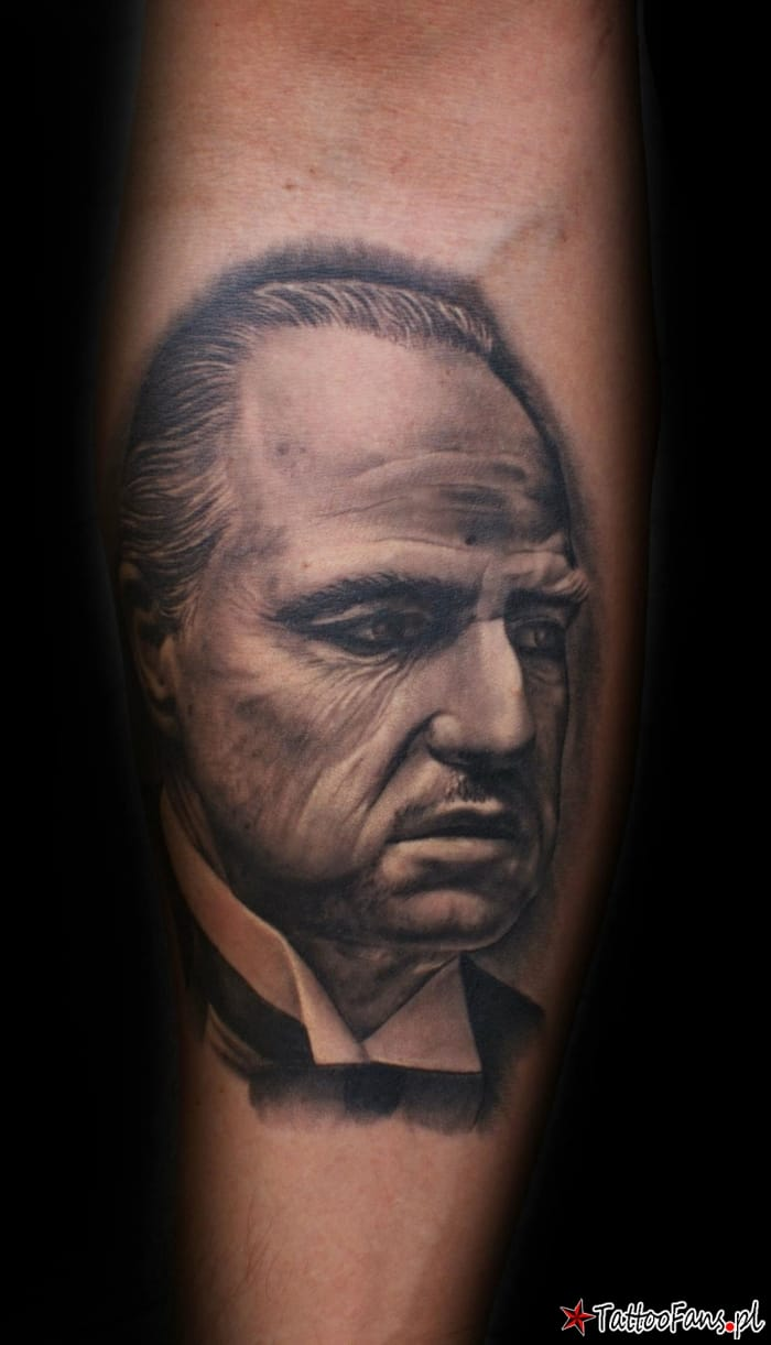Black and Grey Vito Corleone Tattoo By Mario Hartmann