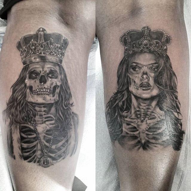 Matching tattoos by Riley Hogan.