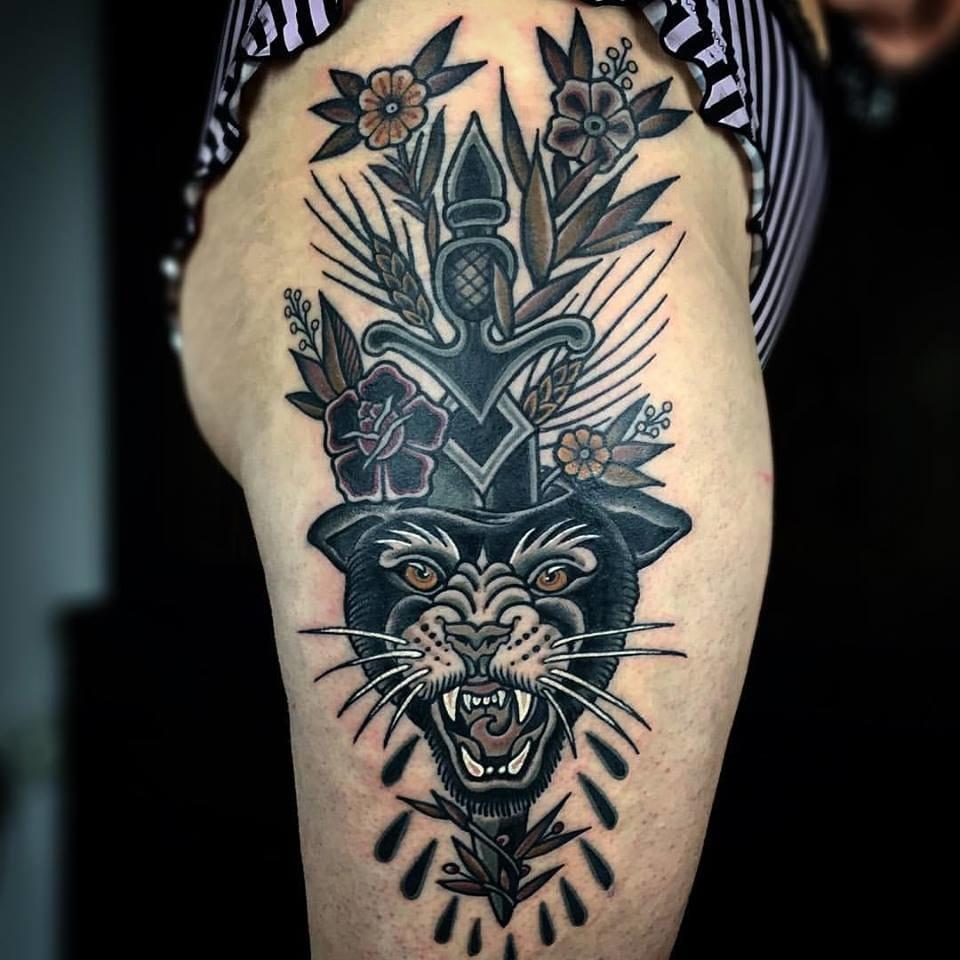 Panther Dagger Tattoo