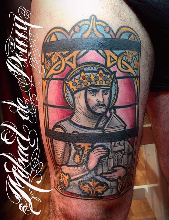 Great thigh piece by stained-glass master Mikaël de Poissy.