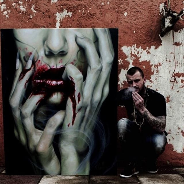 Jak Connolly and one of his paintings.