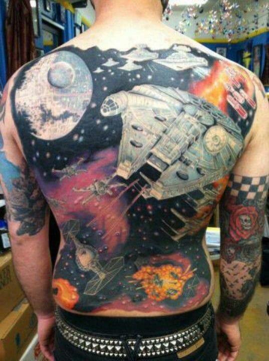 Epic badass Star Wars space battles backpiece! WOW!