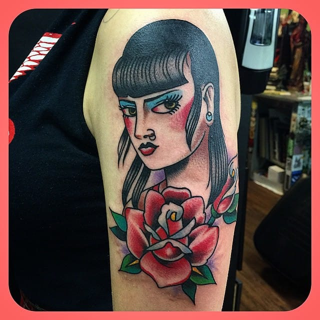 Skinhead Girl Tattoo by Dave Borjes