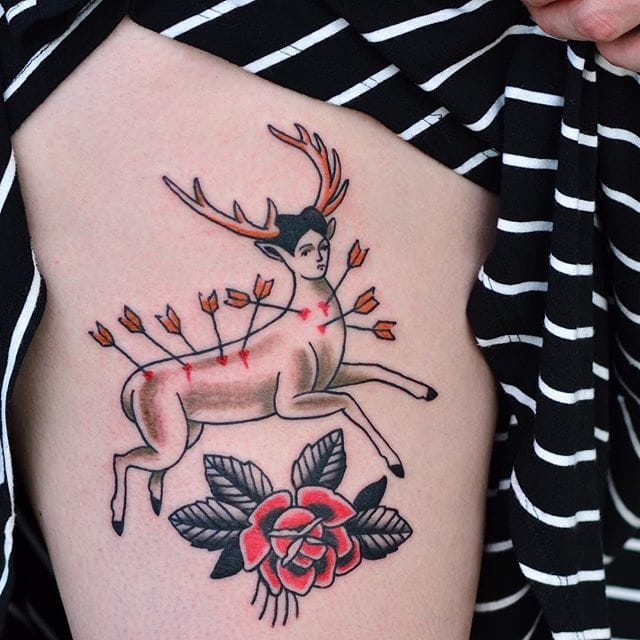 Deer inspired tattoo by Alejandro Laureano.