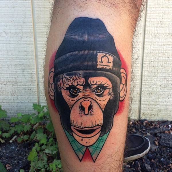 Cool Chimp Tattoo by Mike Stocklings