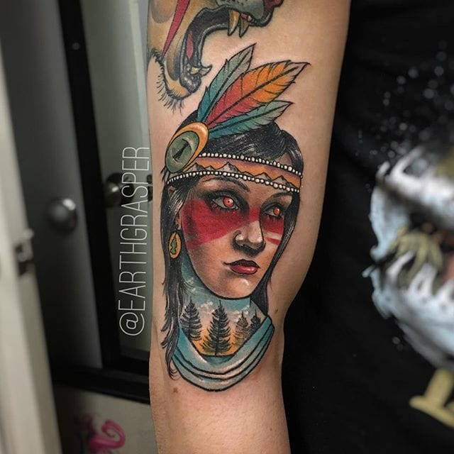 Charming Native girl tattoo by Jonathan Penchoff