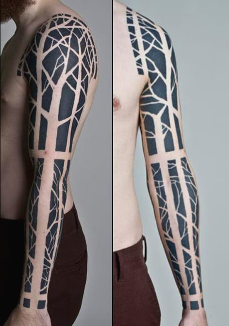 A mix between stained glass and graphic tree for a bold sleeve.