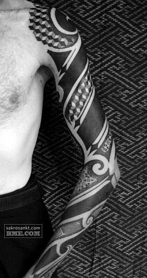 Neo tribal sleeve by Patrick Hüttlinger.