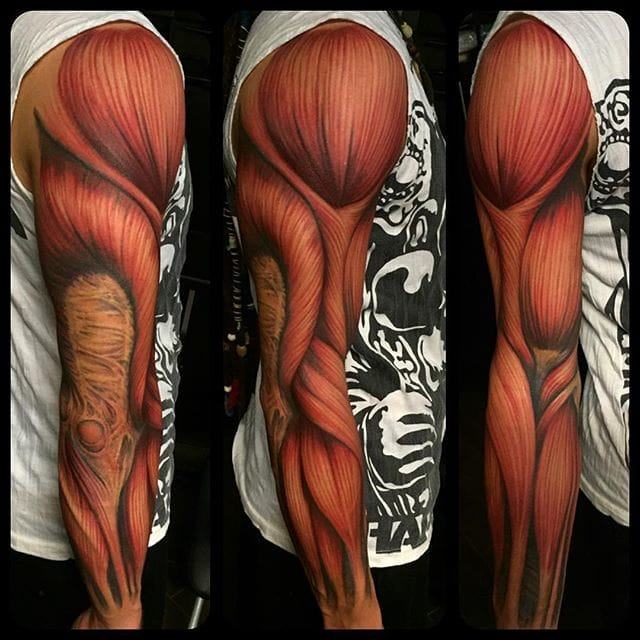 "Realistic anatomic tattoo with a ""muscular"" sleeve..."