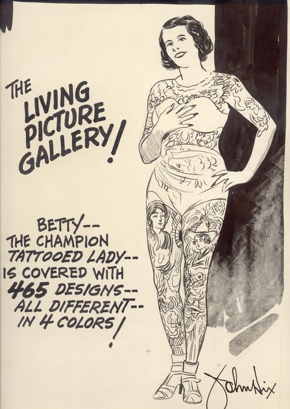 """Poster de 1930 com Betty em destaque. """"A galeria de arte viva"""" diz o cartaz. E ainda enfatiza as suas mais de 465 tatuagens!"""