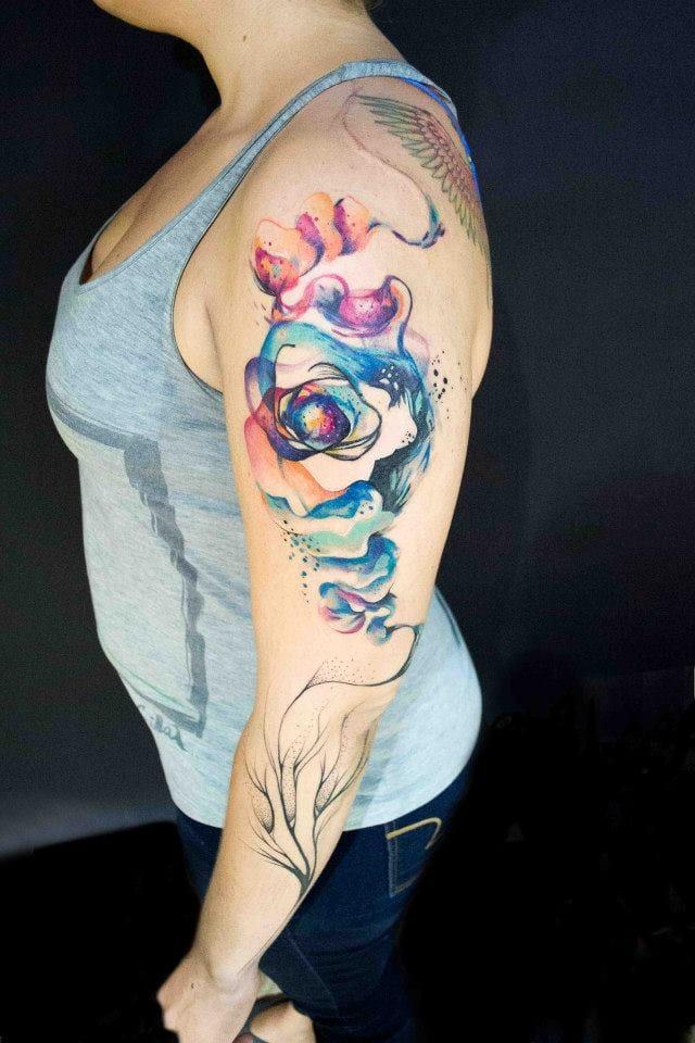 Espiral de cores aquareladas