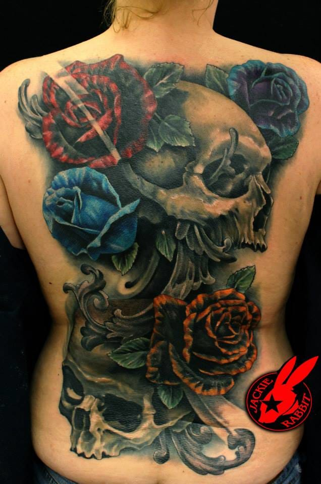 Epic Skull Back Tattoo by Jackie Rabbit