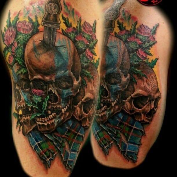 Dagger Skull Tattoo by Jackie Rabbit