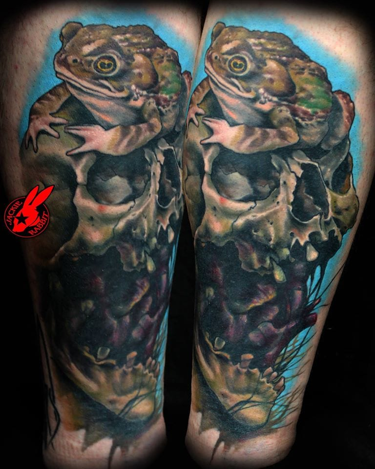 Frog Skull Tattoo by Jackie Rabbit