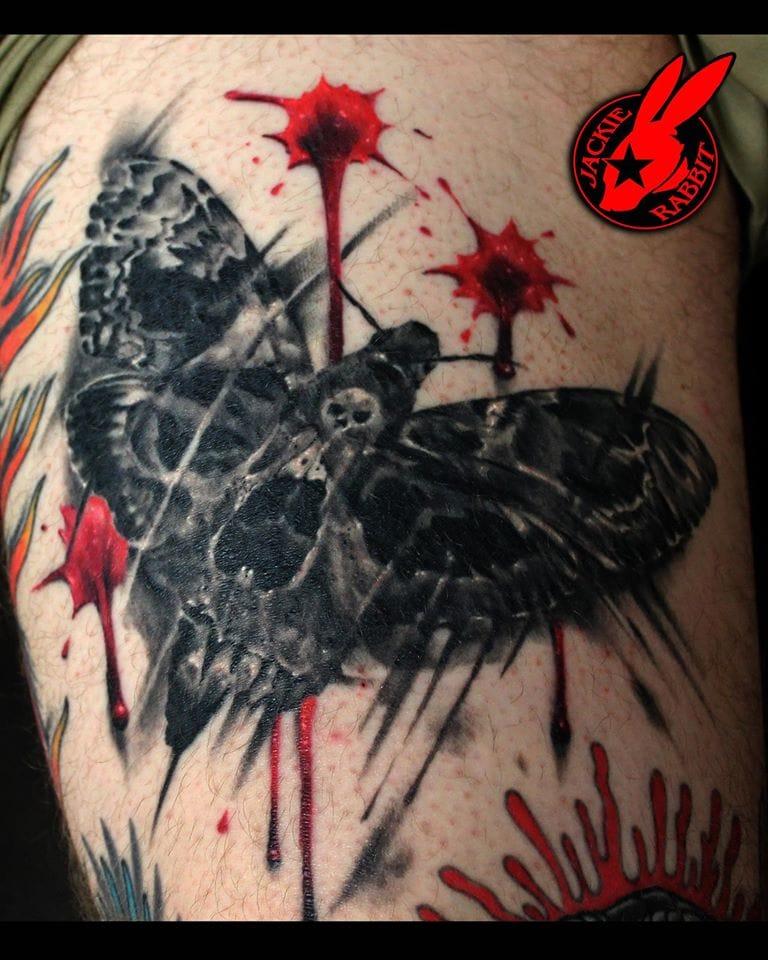 Moth Skull Tattoo by Jackie Rabbit