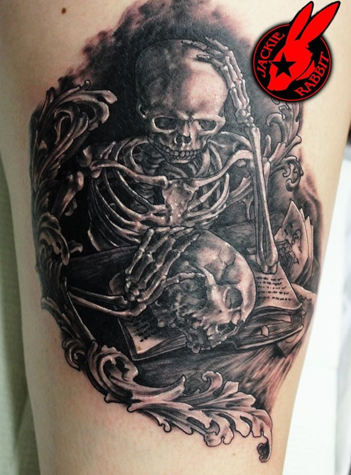 Skeleton Tattoo by Jackie Rabbit