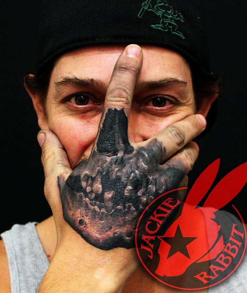 Skull Hand Tattoo by Jackie Rabbit