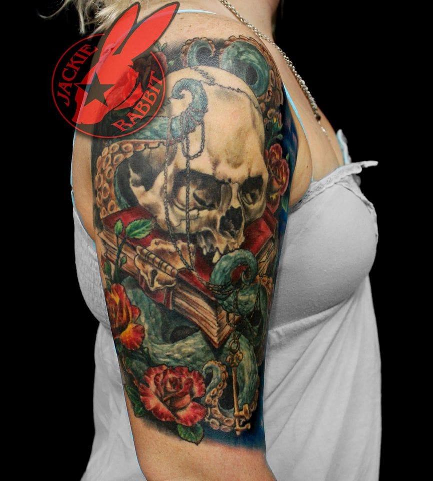Skull Tattoo by Jackie Rabbit